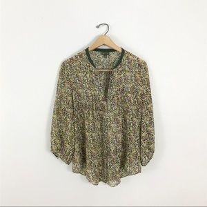 Anthropologie Fei 8 Silk Blouse Top Green